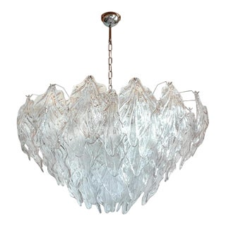 1970s Mid Century Modern Murano Glass Leaves Chandelier For Sale