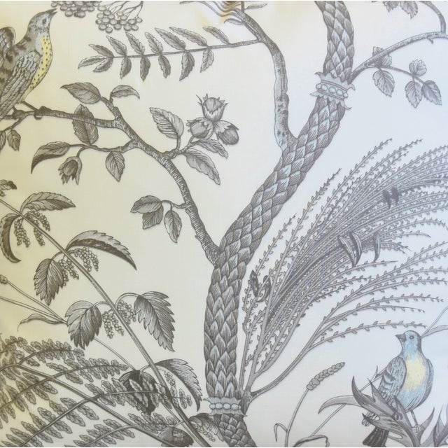 """Brunschwig & Fils Brunschwig & Fils Bird and Thistle Feather/Down Pillows 21"""" Square - Pair For Sale - Image 4 of 13"""