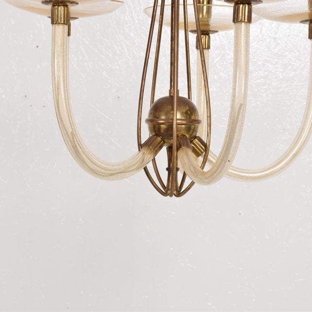 Mid Century Sculptural Modern Italian Murano Chandelier Five Arms For Sale In San Diego - Image 6 of 11