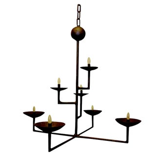 7 Cup Plaster Chandelier With Bronze Finish For Sale