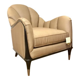 Modern Caracole Taupe Channel Surfing Club Chair For Sale
