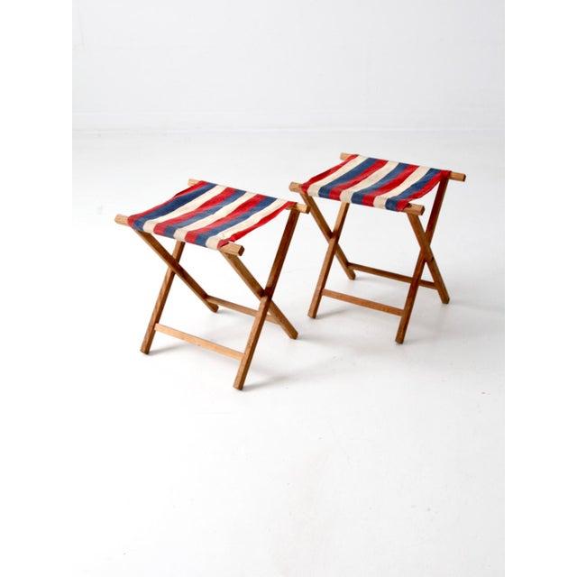 Vintage Striped Camp Stools - Set of 2 For Sale - Image 6 of 10