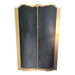 1940s Art Deco Style Black and Gold Wardrobe For Sale