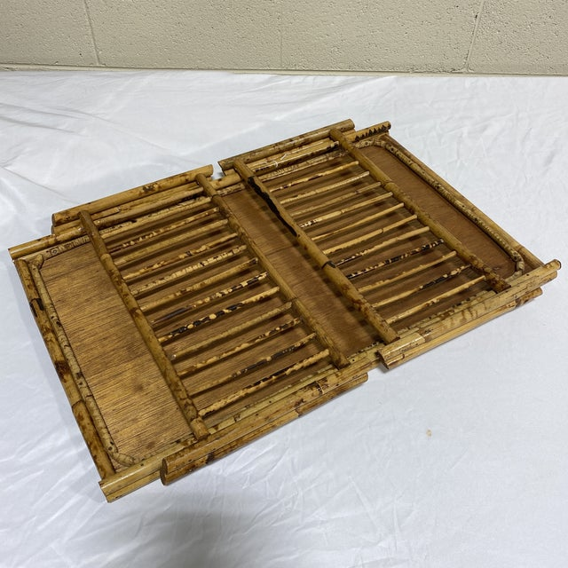 """Vintage Burnt Bamboo """"Breakfast"""" Tray Stand For Sale - Image 9 of 12"""