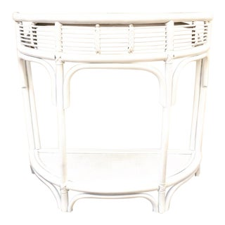 Vintage White Half Moon Rattan Table For Sale