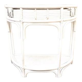 Vintage White Half Moon Rattan Table For Sale