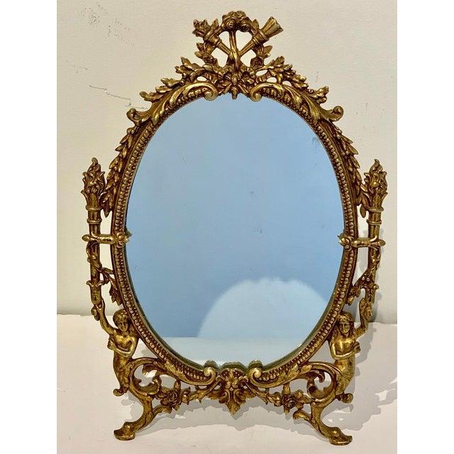 Metal Napoleon III Bronze Dressing Mirror For Sale - Image 7 of 10