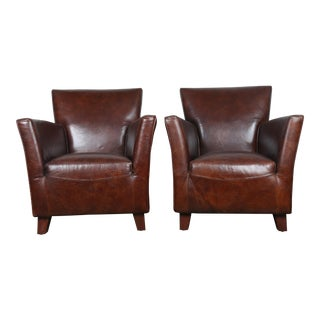 Modern Style Leather Wingback Chairs - A Pair