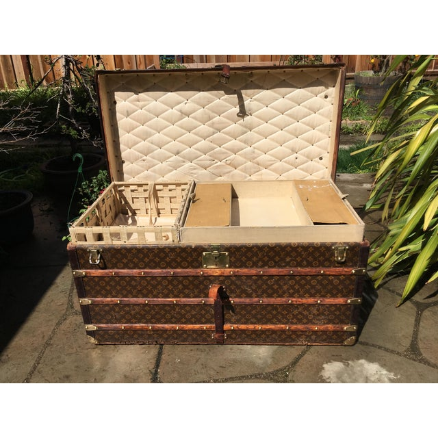 1930s French Louis Vuitton Monogram Steamer Trunk For Sale - Image 9 of 13