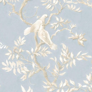 Lewis & Wood Doves Summer Blue Extra Wide Printed Botanic Style Wallpaper Sample For Sale