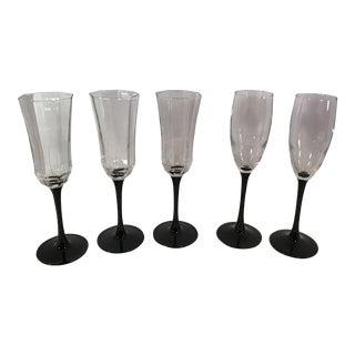 Franch Black Stem Champagne Glasses - Set of 5