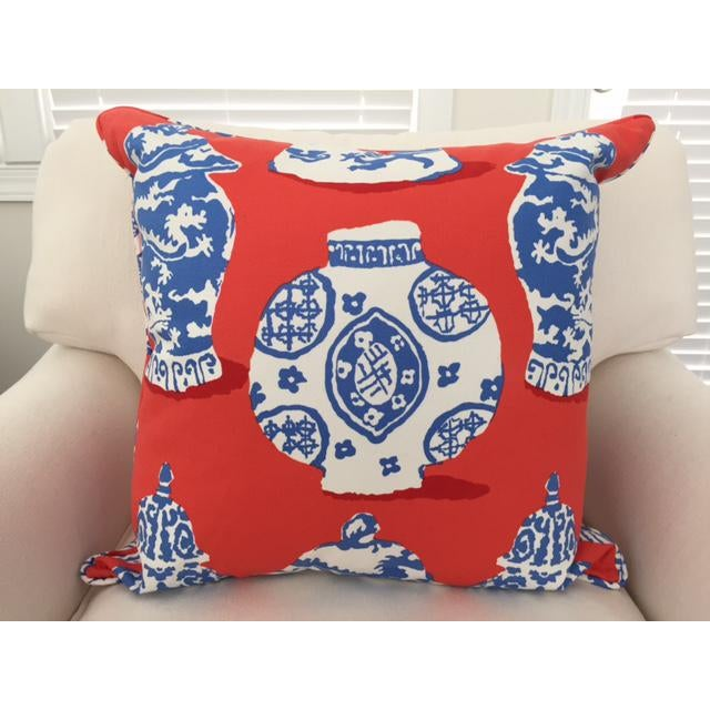 Dana Gibson Persimmon Red, White & Blue Pillows- A Pair - Image 5 of 7
