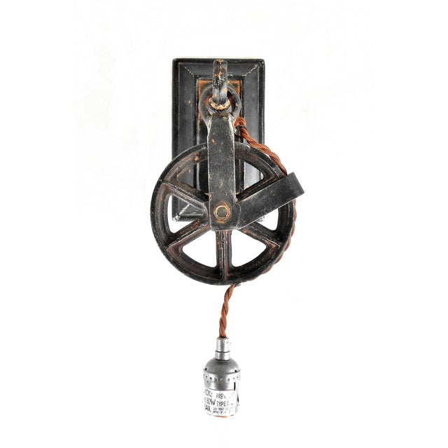 Industrial Factory Wheel Wall Sconce - Image 2 of 9