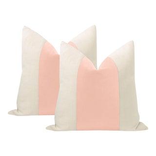 "22"" Pink Peony Italian Velvet Panel & Linen Pillows - a Pair For Sale"