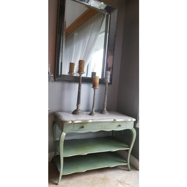 1930s 1930s Italian Florentine Painted With White Marble Top Console or Dressing Table For Sale - Image 5 of 13