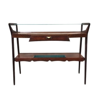 Italian Mid-Century Glass Top Console For Sale