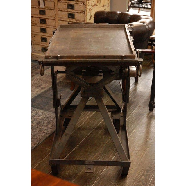 Brown An Iron Adjustable Industrial Scissor Table For Sale - Image 8 of 9