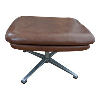 1960s Mid Century Modern Overman Brown Leather Ottoman For Sale
