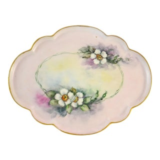 Antique Limoges Floral Tray For Sale