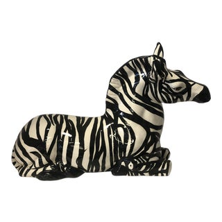 1980s Figurative Ceramic Black and White Zebra For Sale