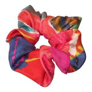Christian Lacroix Handmade Vintage Baby Silk Scarf Scrunchie in Pink Multicolor Watercolor Print For Sale
