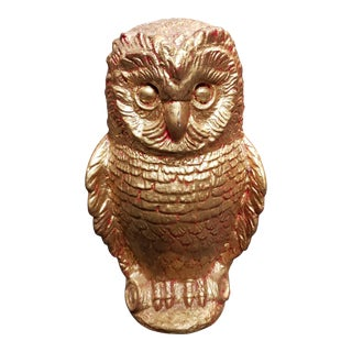 Mid 20th Century Gilded Chalkware Owl Sculpture For Sale