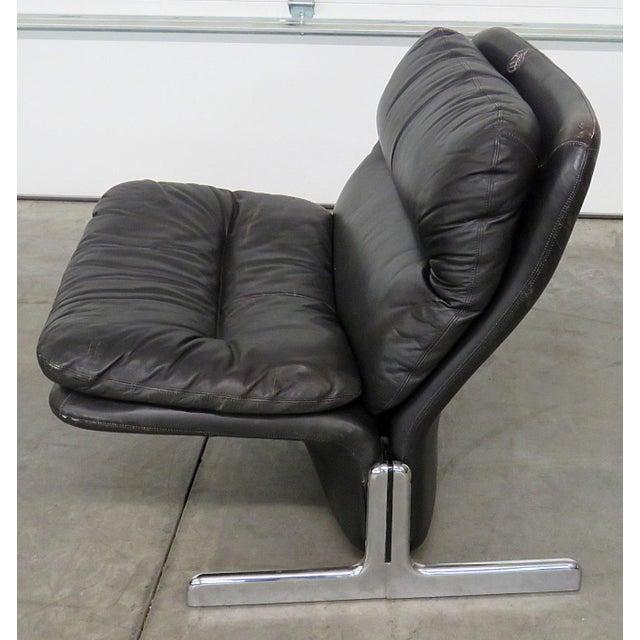 Animal Skin Ammanti & Vitelli Italian Leather Chair and Ottoman For Sale - Image 7 of 9