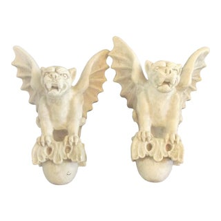 1980s Medieval Eggshell Ceramic Gargoyle Curtain Rod Holders - a Pair For Sale