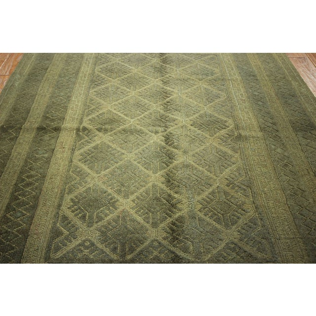 "Overdyed Geometric Green Wool Rug - 4'6"" x 6' - Image 5 of 8"