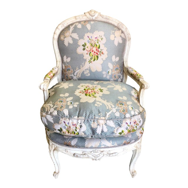 Dennis & Leen French Bergere Chair W Silk Lampas Feather Cushion For Sale