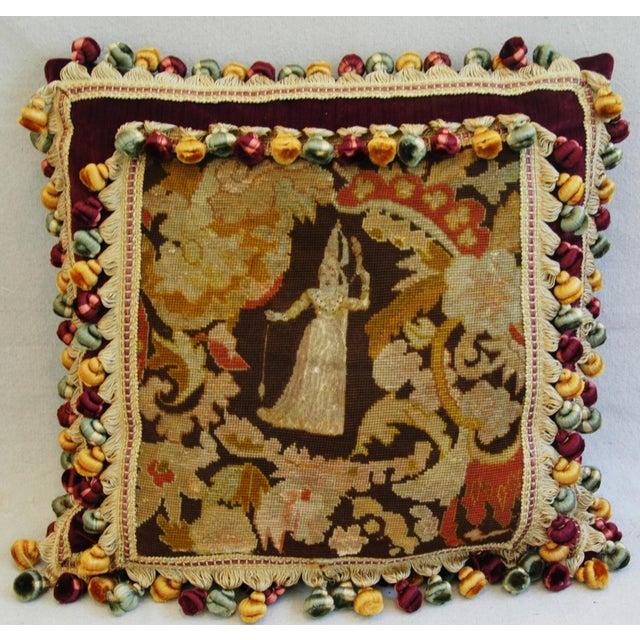 Custom Antique French Needlepoint & Velvet Pillow - Image 3 of 11