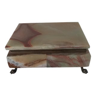 1980s Onyx Footed & Velvet Lined Box For Sale