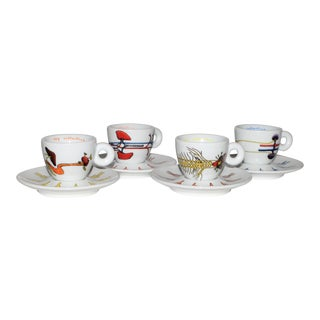 Illy Art Collection Atelier Van Lieshout Espresso Demitasse Cups & Saucers - Set of 4 For Sale
