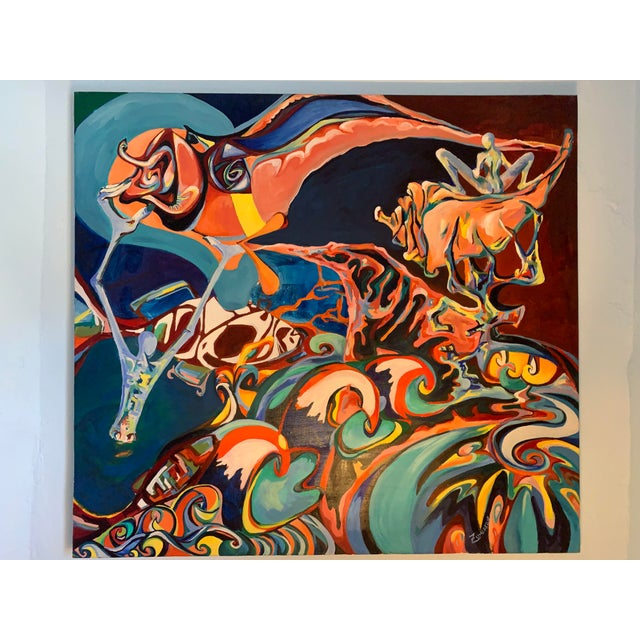 2000 - 2009 Large Surrealist Canvas Painting For Sale - Image 5 of 13
