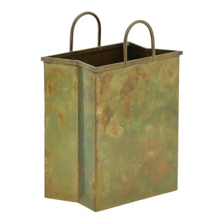 Vintage Brass Waste Basket in the Shape of a Shopping Bag For Sale