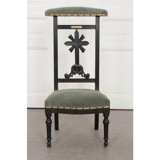 A delightful 19th century prie dieu, upholstered in a cadet blue-green velvet fabric. The frame is made of hardwood that...