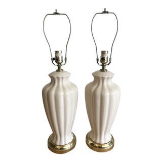 Ivory Lamps With a Scalloped Shaped Base - a Pair For Sale