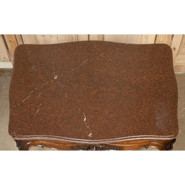 19th Century French Louis XV Rouge Marble Top Walnut Library Table For Sale - Image 9 of 10