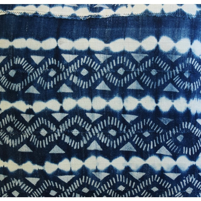 Indigo Blue & White Mali Tribal Feather/Down Pillow - Image 4 of 8