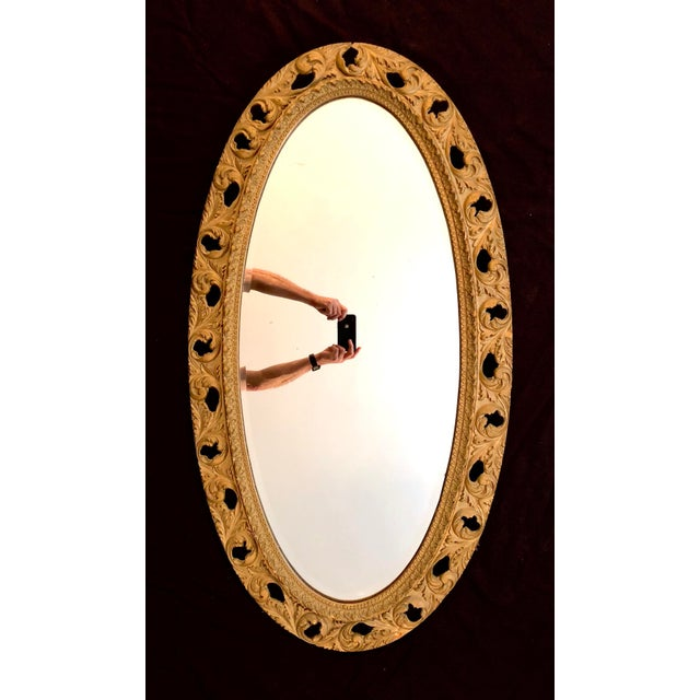 20th Century Italian Gilt Carved Wood Oval Beveled Wall Mirror For Sale - Image 10 of 10