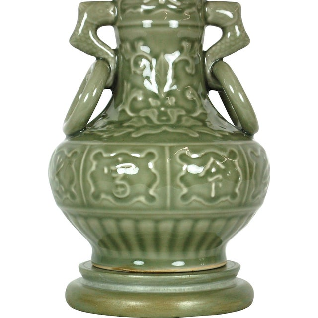 Dolphin Handled Urn Lamp in Celadon - Image 2 of 7