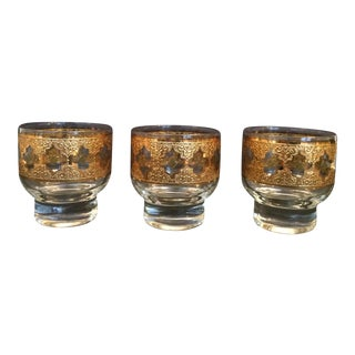 Culver Mid Century 22k Gold Valencia Low Ball Glasses - Set of 3 For Sale