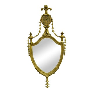 Small Antique Gold French Adams Style Bell Flower Drape Shield Wall Mirror 28x13 For Sale