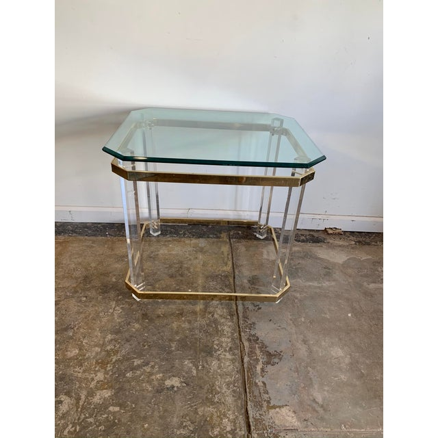 Gold 1970s Charles Hollis Jones Accent Table W/Lucite Legs & Glass Top For Sale - Image 8 of 9