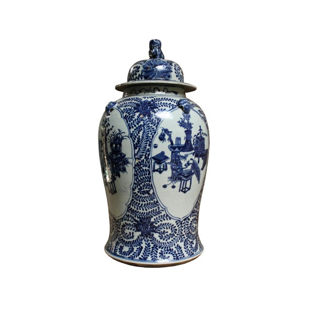 Asian Chinese Blue & White Flowers Vases Theme Porcelain Large General Jar For Sale - Image 3 of 8