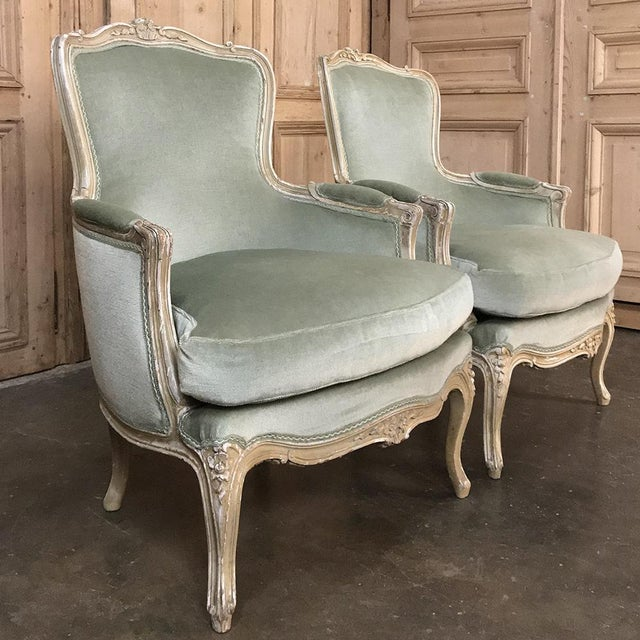 Pair 19th Century French Louis XV Bergeres ~ Armchairs For Sale - Image 4 of 12