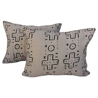 African Mudcloth Pillows - A Pair For Sale
