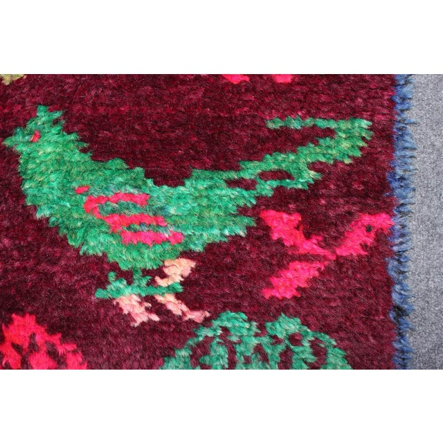 Vintage Turkish Bird Motif Tulu Rug - 2′8″ × 11′6″ - Image 8 of 11