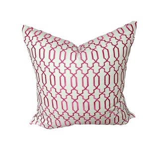"Robert Allen ""Kyle James Fuchsia"" 22"" Custom Accent Pillow For Sale"