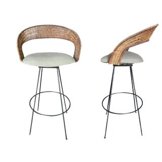 Wicker and Iron Swivel Barstools by Arthur Umanoff - Set of 2 For Sale